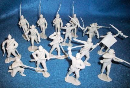MARX Original Sears Civil War Confederates, 16 figures in all 10 poses, light gray (54MM)