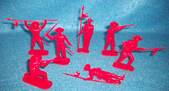 Mexican Alamo infantry by Imex,12 figures in 7 poses,red,717,(54mm)