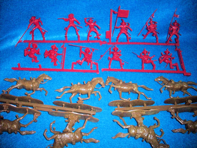 Mexican Alamo cavalry by Imex, 12 figures + 12 horses, red, 718 (54mm)