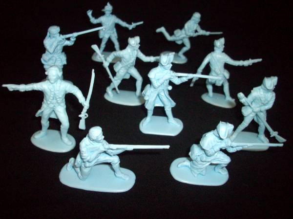 Accurate Revolutionary War Colonials Seriers II, 20 figures in 10 poses in light blue 1:32 scale