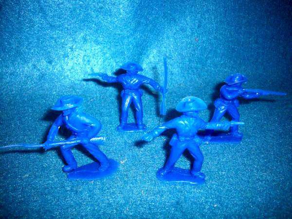 Timpo Confederate infantry, 12 figures in all 4 poses, BLUE (54mm)