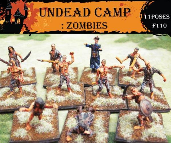 Caesar Miniature Fantasy Series: (40) Undead Camp Zombies 11 poses in 1:72 scale (F110)