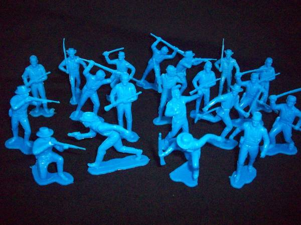 Marx  western cavalry afoot 25 fig in all 12 poses, medium blue (54mm)
