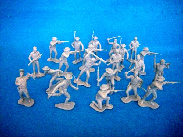 Marx western cavalry afoot,20 figures in 12 poses, gray (54mm)