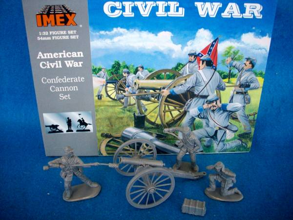 Old Store Stock - Imex American Civil War 3 man Confederate Artillery Crew with 6Lb cannon in grey,  1:32 scale