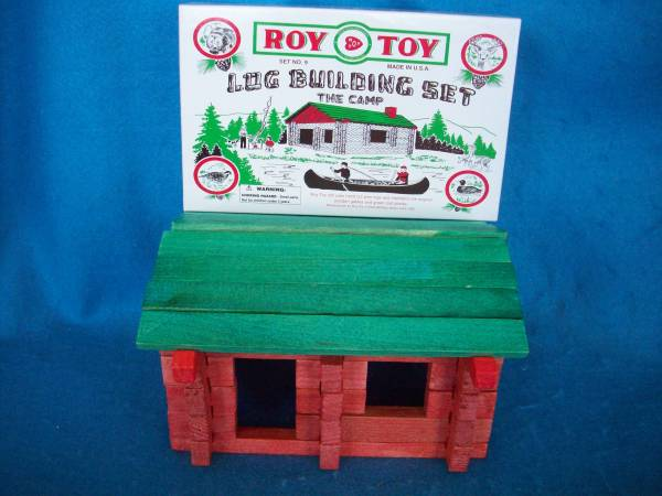 Roy Toy log building set no 9, wooden logs, 54mm