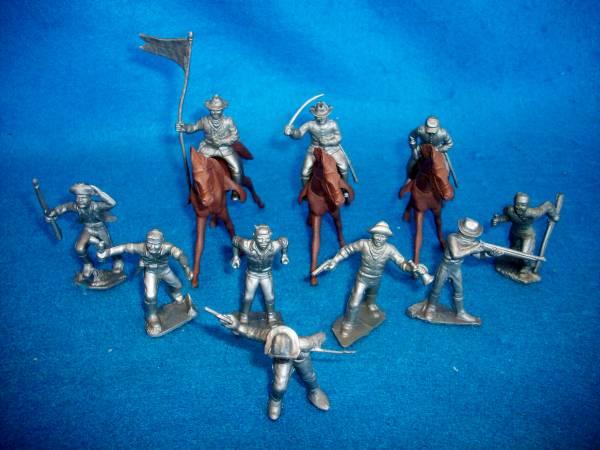 MARX original Texans/frontiersmen 10 figures   + 3 horses (silver) (50mm)
