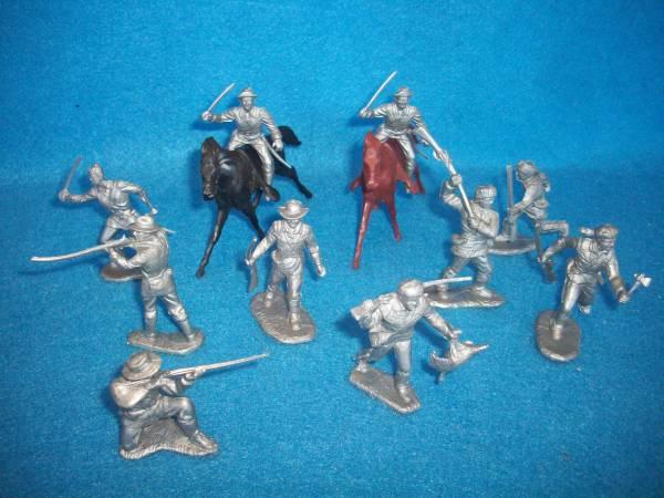 Marx original Fort Apache/Alamo frontiersmen/cavalry, 54mm silver + horses