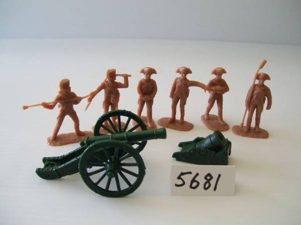 Armies in Plastic American Revolutionary War Artillery French 6 Pounder and Land Mortar , 54mm (5681)