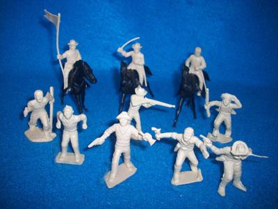 MARX original Texans/frontiersmen 10 figures + 3 horses (tan) (50mm)