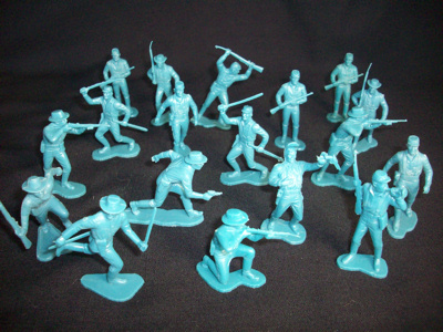 Marx vintage 1960's 54mm US 7th cavalrymen on foot-18 figures in 12 poses