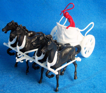Marx Roman Ben Hur chariot with driver+4 horses, white, 54mm