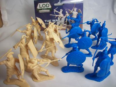 LOD War at Troy, Greeks+Trojans, 60mm, blue+cream