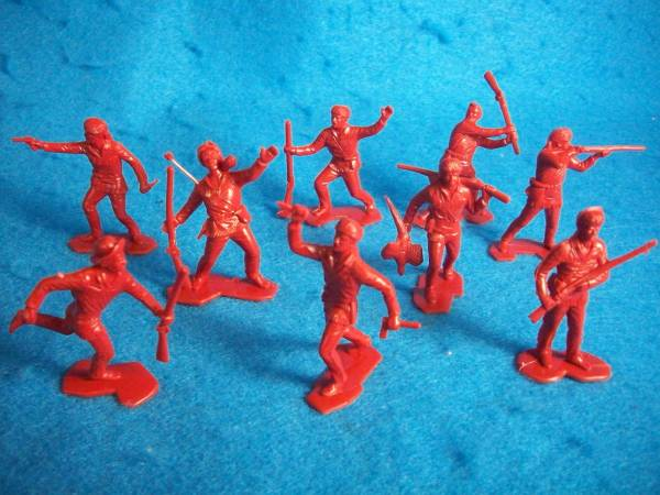 Boonesborough pioners, 25 figures in 9 poses, red/brown (54mm)