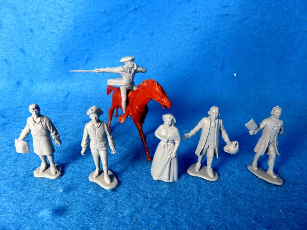 Paul Revere , Johnny Tremain and the Sons of Liberty Colonial Characters 6 poses (gray) +horse (54mm)