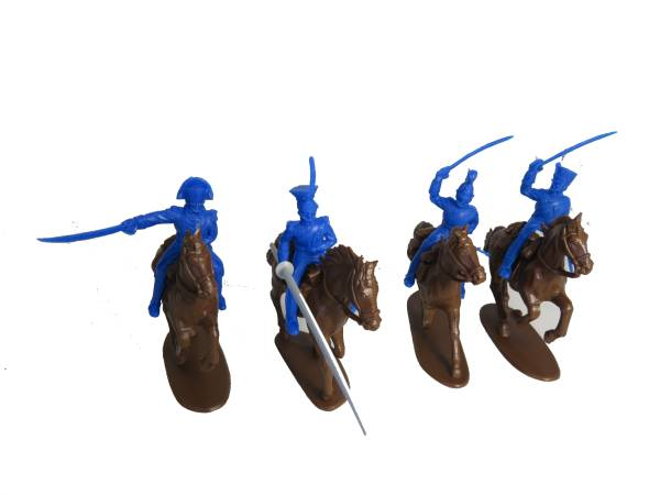 Timpo/Imex Napoleonic French Cavalry: 4 Timpo Cavalry figures with 4 Imex cavalry horses