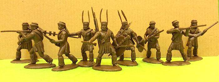 Epeditionary Force Zulu War, Zulu's with Rifles 9 figures in brown
