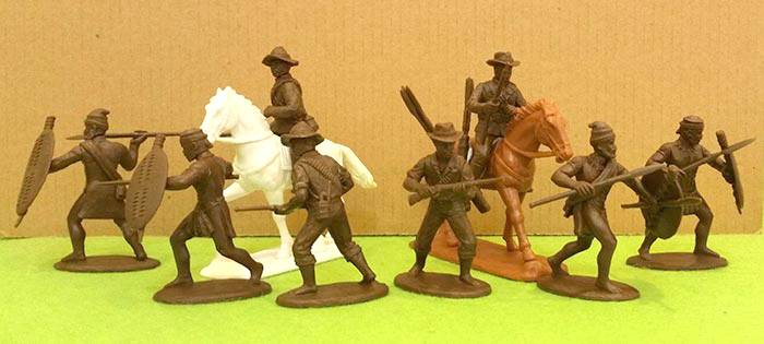 Expeditionary Froce Zulu War Natal Native Contingent 8 figures plus 2 horses