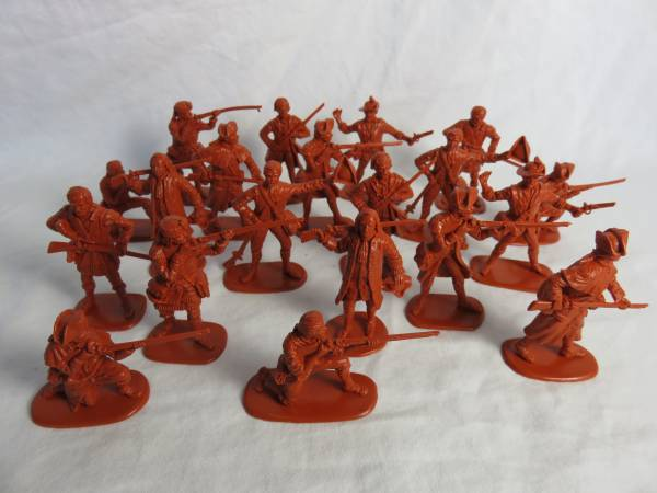 Accurate Revolutionary War Colonials Series I,(Red Brown) 20 Figures in 10 poses