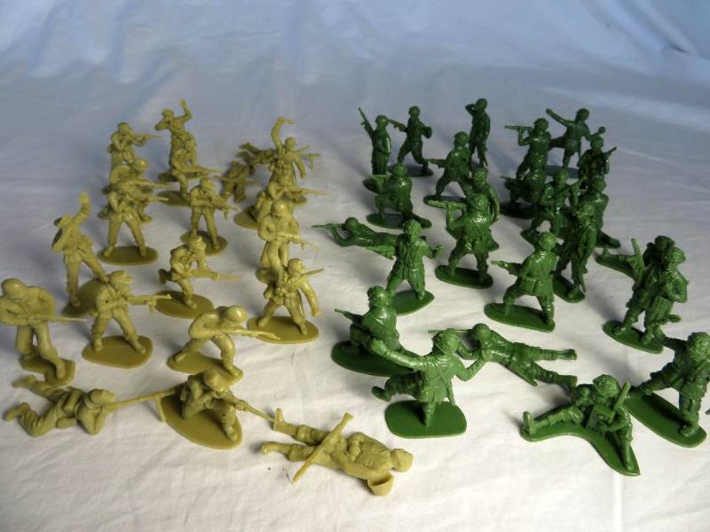 Airfix/China made Figures: WWII Combo Set: With GI's, and German Afrika Korp 54MM