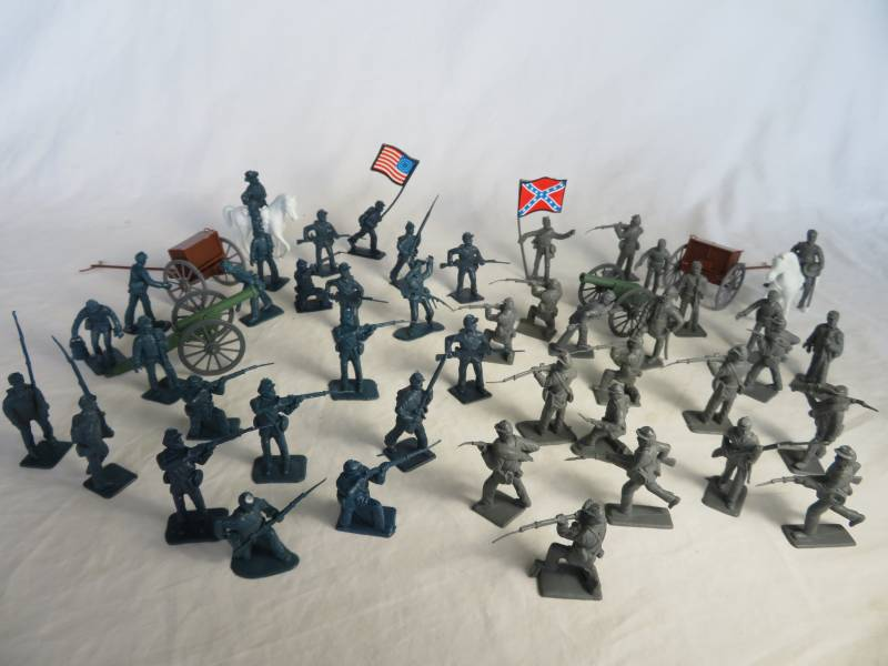 BMC American Civil War Union + Confederate with artillery, 50 pcs, 54mm