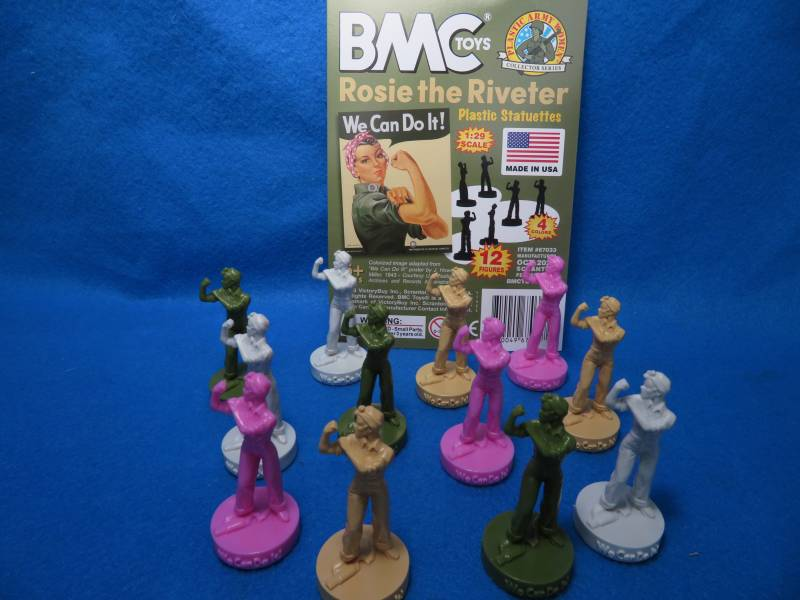 BMC ROSIE THE RIVETER WWII home-front Woman figure, 12 figures, colors vary, 1/29 scale