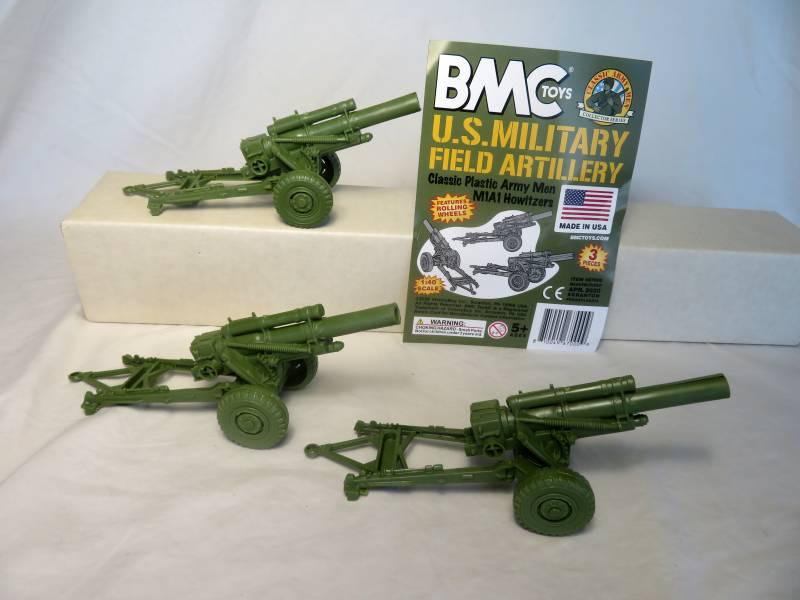 BMC/Marx WWII U.S. howitzers X 3, green, 54mm #67000