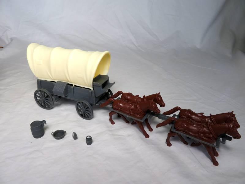 Conestoga Wagon (gray) w/2 different  tops in cream,(1/32) 4 horse hitch