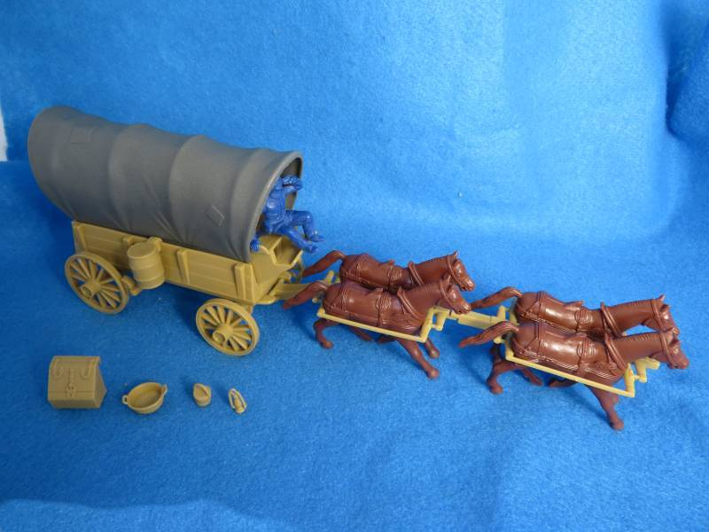 Conestoga Wagon (tan) with 2 different gray tops plus 4 horses (black)