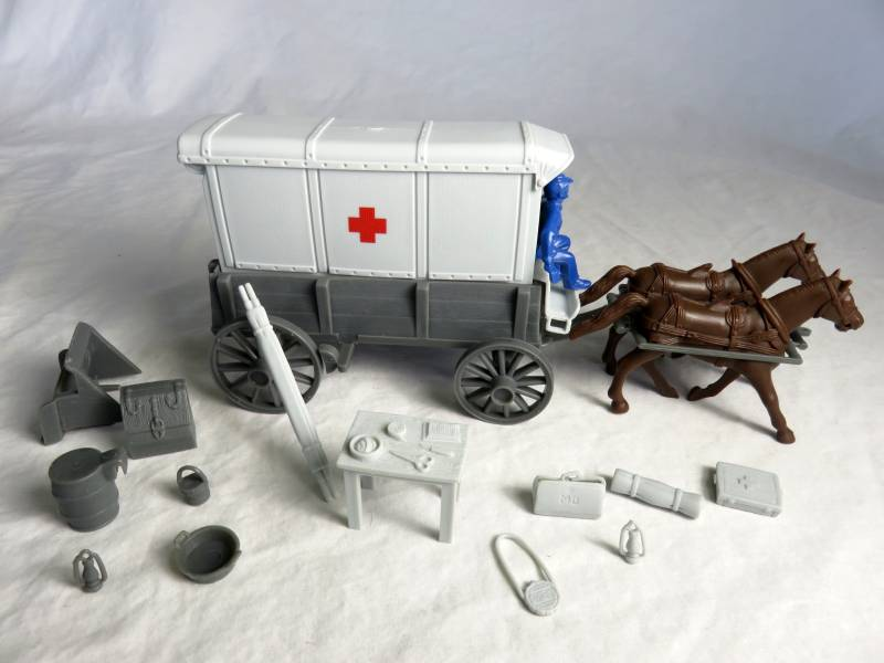 Red Cross Ambulance -- wagon body (gray), w/2 different (gray) tops and  driver (blue) <font color=#CC0000>(54mm) </FONT>