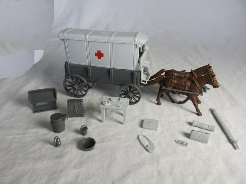 Red Cross Ambulance -- wagon body (gray) w/2 different (gray) tops and  driver  (gray) <font color=#CC0000>(54mm) </FONT>