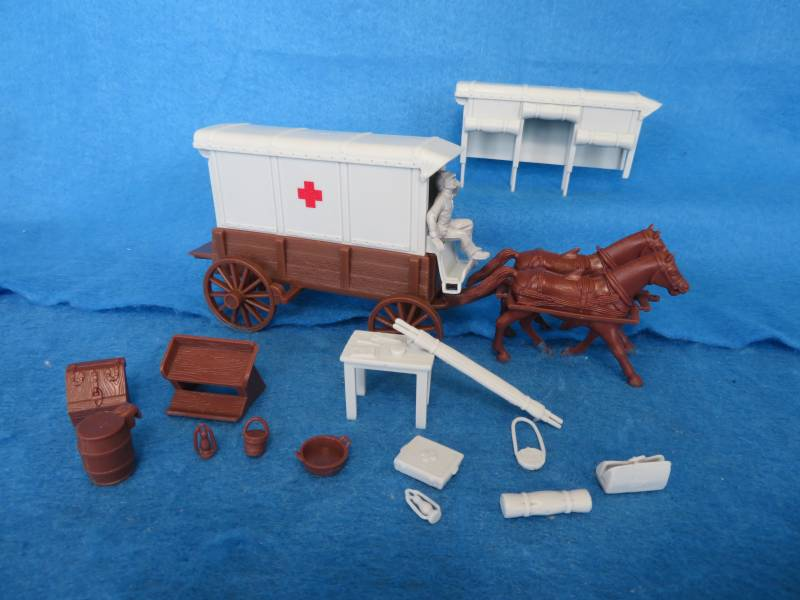 CTS Red Cross Ambulance Wagon: Wagon Body (dark brown) with 2 different grey tops Gray driver