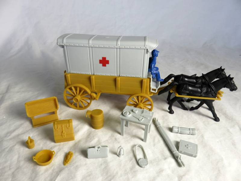 Red Cross Ambulance Wagon (tan) with 2 different tops (gray) and blue driver