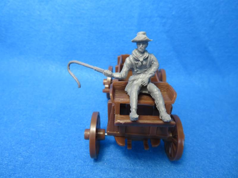 Confederate Cavalry wagon driver with whip, 54mm, gray, resin