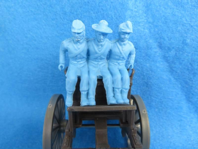 Civil War Limber riders X3 , 54mm light blue, resin