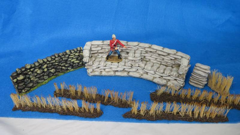 JG miniatures Zulu war redoubt, stone wall + grass, 1/32,painted