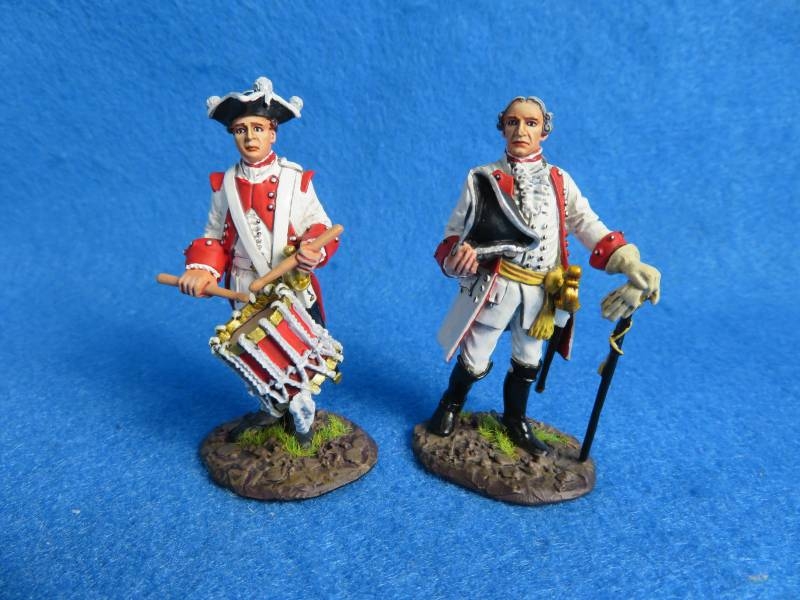 J.J. Designs Inf Officer+drummer, 7 Years War , metal, 1/30th