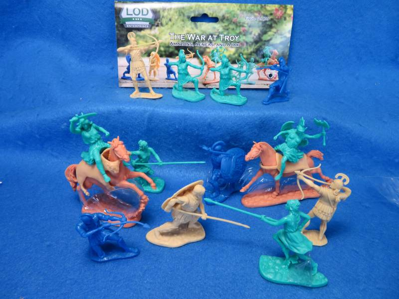 LOD War at Troy Amazons, Aeneas + Ajax,11 figs + 2 horses 2 3/4