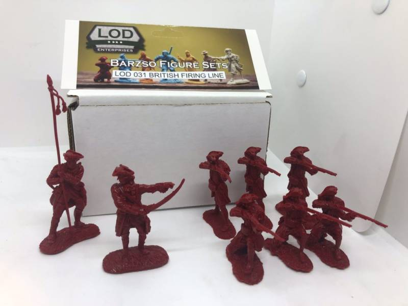 LOD Enterprises/Barzso French& Indian War British Firing Line 8 figures in 4 poses in red
