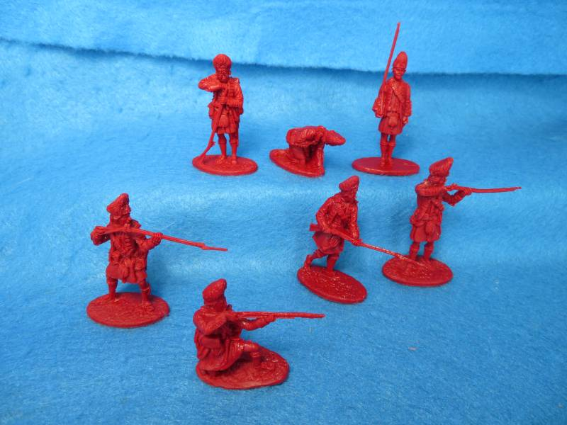 LOD/Barzso British Highlanders 7 figures in 7 poses in Dark Red