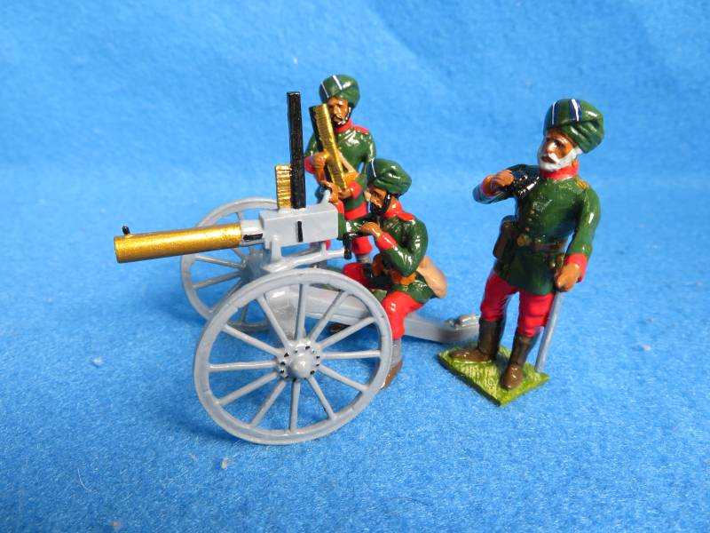 Little Legion 1800's Indian Army gatling gun and 3 man crew, metal