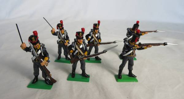 MM metal Napoleonic firing line, 6 figures in 3 poses, 1/32