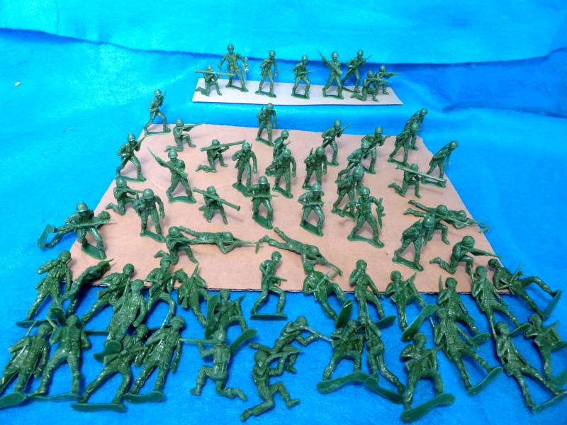 WWII GI's 66 figures in 9 poses (green)   <font color=#CC0000>(54mm) </FONT>
