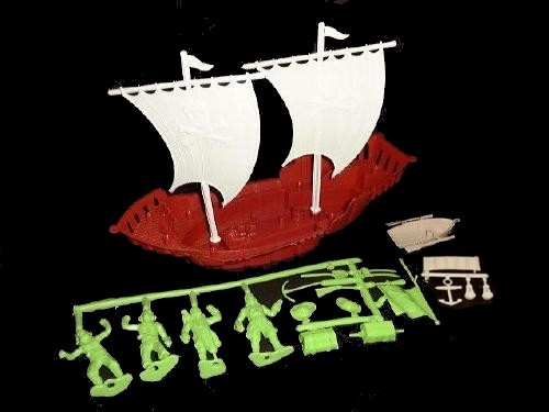 Pirate Ship w/sails (large) (red) w/4 pirates and 15 accessories  <font color=#CC0000>(54mm) </FONT>