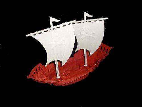 Pirate Ship w/sails (12'' long) (red)   <font color=#CC0000>(54mm) </FONT>
