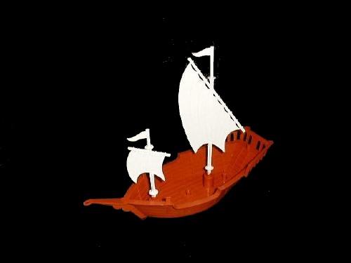 Pirate Ship w/sails (9.5'' long) (brown)   <font color=#CC0000>(54mm) </FONT>