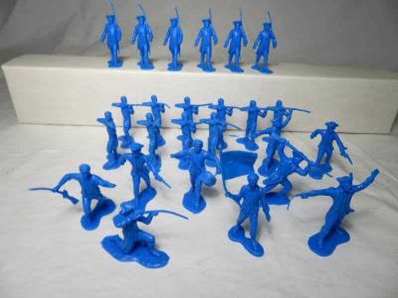 MXR108B Rev. War colonials (54MM) 25 in 9 poses (up to 10 standing firing, and 6 Marching)