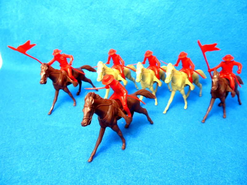 Marx Alamo Mexican cavalry, 6 in 2 poses + horses, red,54mm