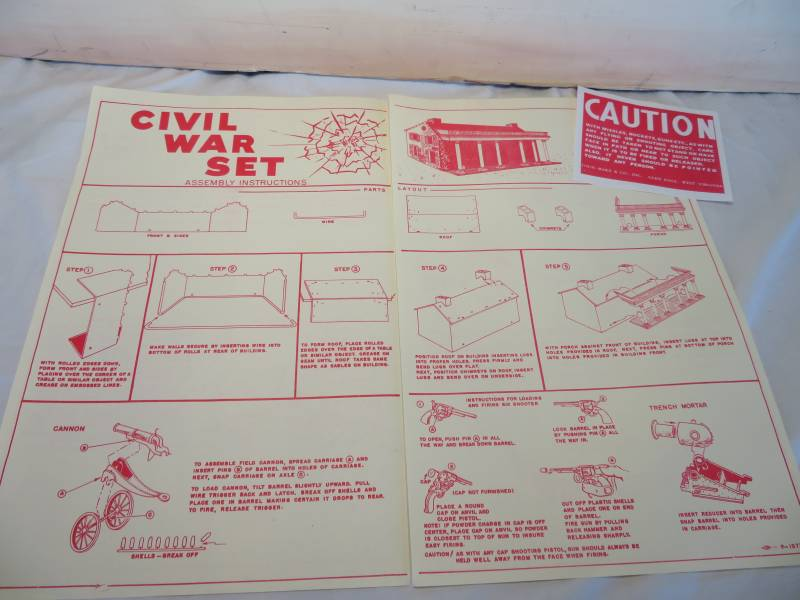 Marx Centennial Blue& Gray playset copy of 4 page instruction sheet + caution sign