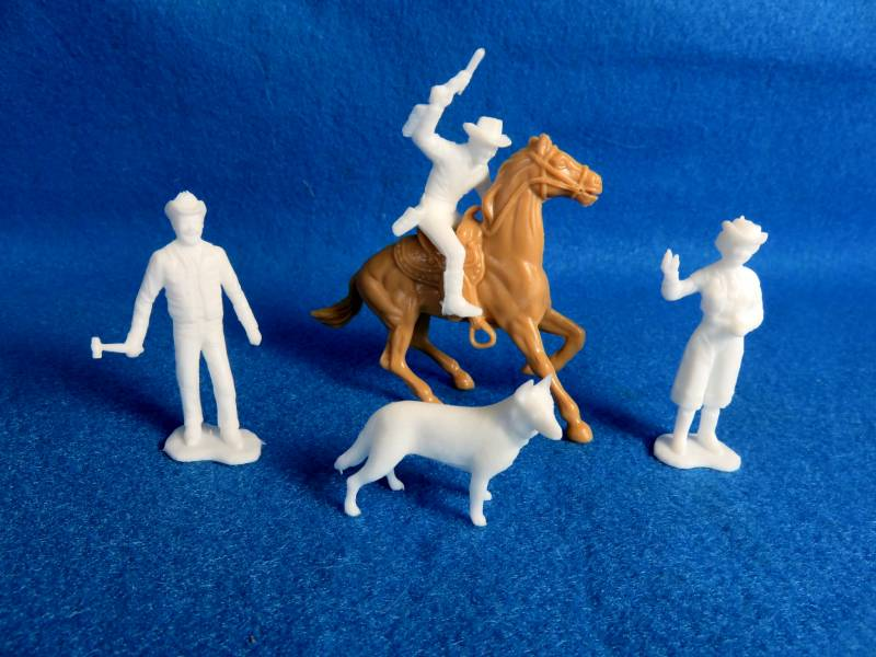 Marx Roy Rogers set of character figures,white, 54mm